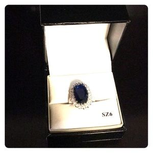 CBC Ring silver plated cubic zirconia size 6